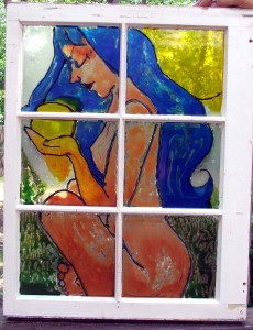"""Stained Glass"" paint window by Tammy Vitale. Chimes to be added."