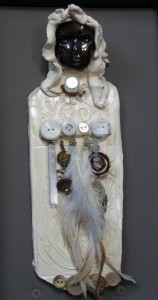 (Yes! wall sculpture by Tammy Vitale) Morgaine loves creative tools to remind her of goddess spirituality and her own connection to the earth. To that end, she loves practicing in community to make fetishes and altar objects that help her remember her own divinity and what she is here to do.
