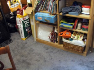 bead room floor by bookcase clean