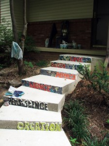 step risers:  mosaic and letters by Tammy Vitale