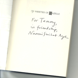 inside title page with handwritten note by Naomi Shihab Nye to blog author