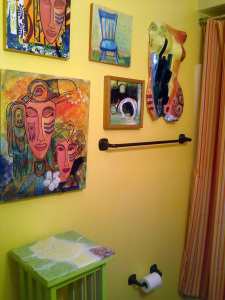 My ceramic torso, my collage, and paintings by Anne Crain (the circle..which IMO is a cave) and Mimi Little, the chair