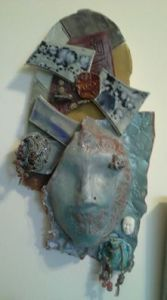 assemblage mask by Tammy Vitale titled, Silence is...