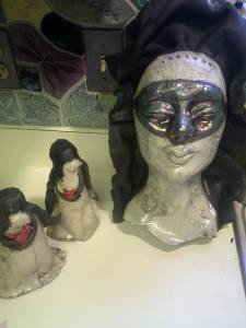 """Unfinished """"Masked Mask"""" and angels by Tammy Vitale"""