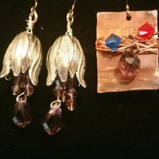 earrings by Tammy Vitale.  On the right made from scrap copper