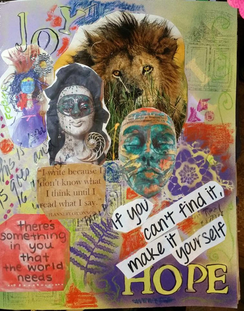 Collage by Tammy Vitale using pictures of her clay masks and spirit doll as elements of the picture