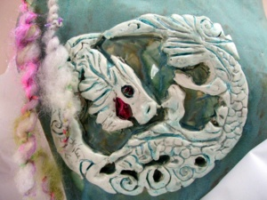 detail, dragon, wall sculpture by Tammy Vitale