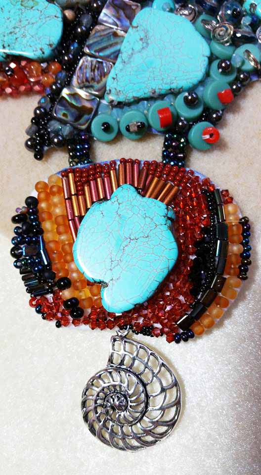 beadwork ladder stitch: those two joining strips of 3 beads across and 4 rows up and down.