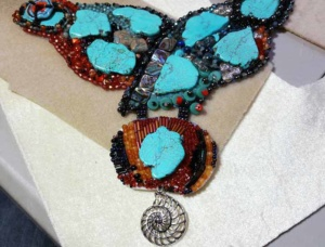 beadwork/bead embroidery necklace by Tammy Vitale and in the works...just added the middle dangle via ladder stitch.