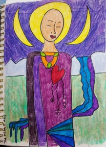 original crayon and ink drawing of a woman on paper