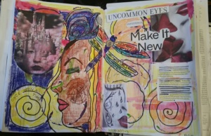 AEDM2017 day 3,  Make it New:  collage on 2-page, gessoed journal pages