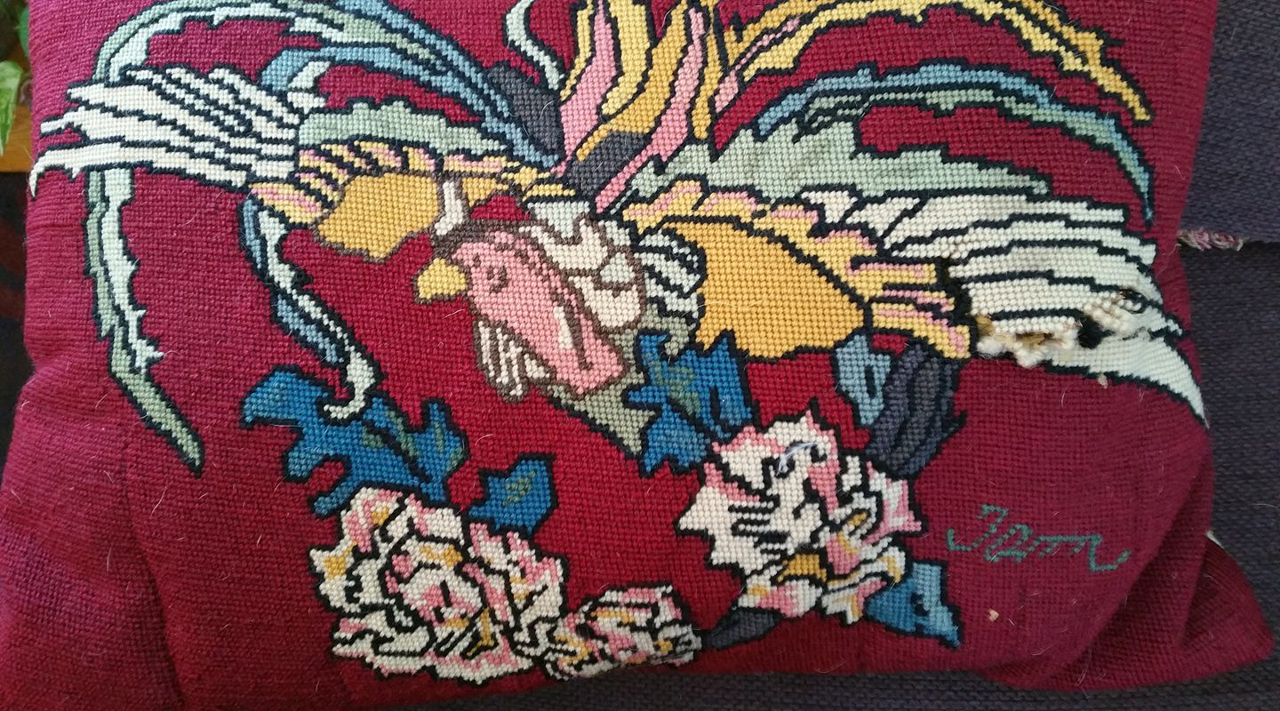aedm2017 - day 19 - burgundly needlepoint pillow