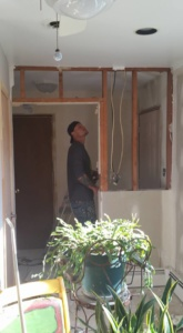 Son starting work on wall tear out at my house.